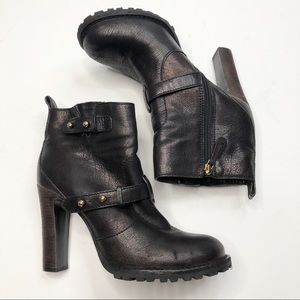 Tory Burch Black Leather Heeled Booties